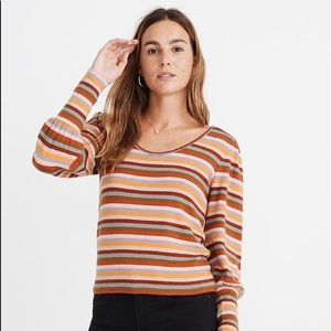 Madewell Striped Puff-Sleeve Scoopneck Top size S
